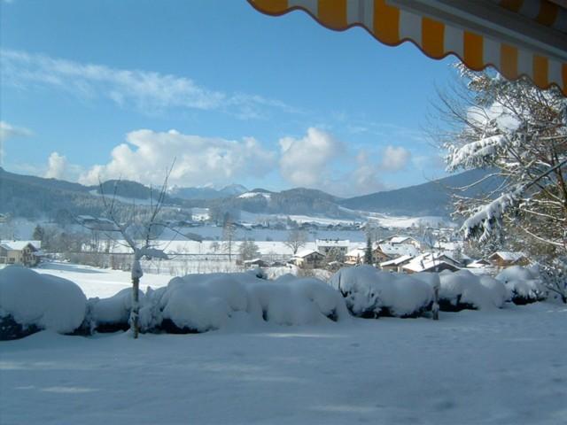 Winterliche Aussichten vom Balkon  Ferienwohnung Inzell-Gräbeldinger